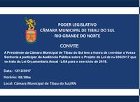 CONVITE - Audiência Publica - LOA exercício 2018