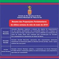 Resumo das Proposituras Parlamentares da última semana do mês de maio de 2018